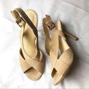 Michael Kors Camel Nude Suede Sandals Heels 9